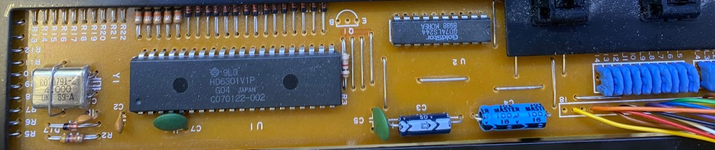 The ICs and passive components on the keyboard PCB